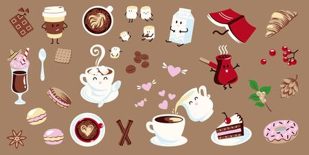 Set of coffee illustrations in flat style on a brown background. Иллюстрация
