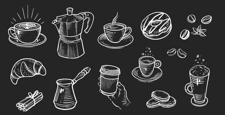Set of coffee menu in retro style drawing with chalk on chalkboard background.