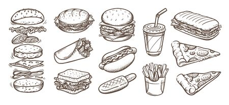 Vector set of fast food. Vector illustration in sketch style. Hand drawn design elements. Иллюстрация