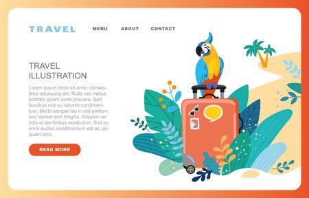 Flat design web page templates of summer vacation, travel destination, nature, tourism. Modern vector illustration concepts for website and mobile website development.