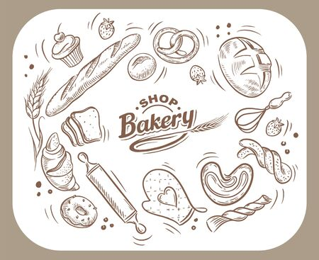 Vector card design with drawn baking illustration. Vintage template with bread and pastries sketch. Bakery or bakehouse menu.