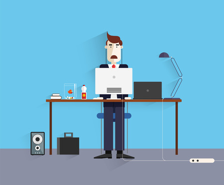 Flat design.Modern design vector illustration.Office Worker. Icon collection in stylish colors of business work flow items and elements, office things,equipment, objects.Workplace concept. Vector