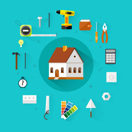 Builders icons set.Vector color flat illustrations.Build ing.Tools. Vector