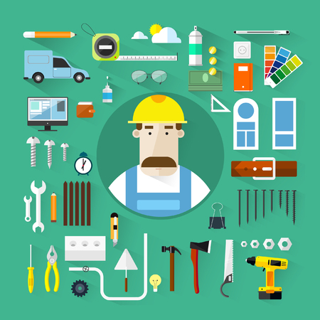 coverall: Builders icons set.Vector color flat illustrations.Build ing.Tools