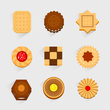 cookies: Cookies icons.Sweet set.Vector.Flat.