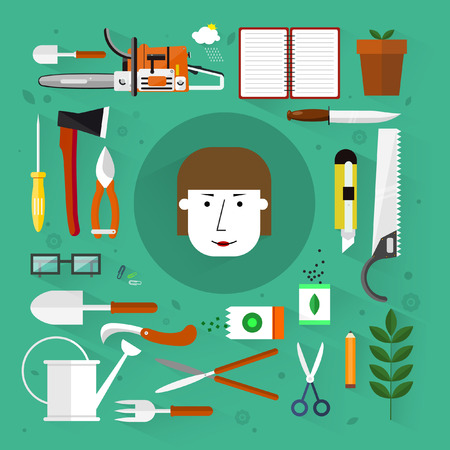 Gardening tools.Flat design.Icons set. Vector