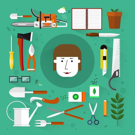 weeder: Gardening tools.Flat design.Icons set. Illustration