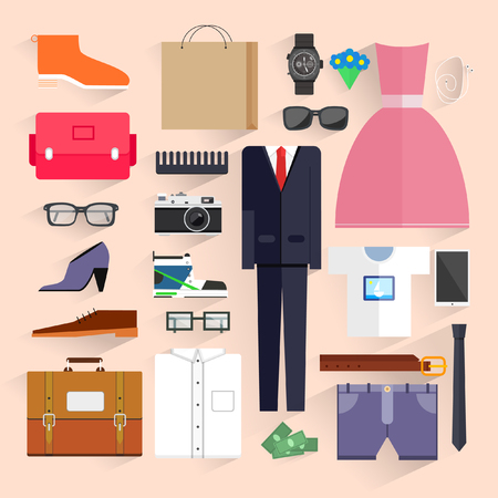 Flat design.Icons for beauty and shopping.Fashion. Vector