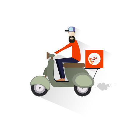 Food delivery.Flat character design. Vector
