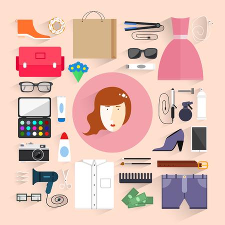 accessoire: Vrouwen accessoireset Stock Illustratie