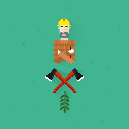 coverall: Lumberjack Flat Axe. Illustration