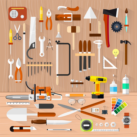 carpentry tools: Carpentry Construction hardware tools. Illustration