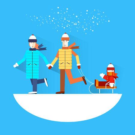 speed skating: Family.Flat design.Winter holidays. Illustration