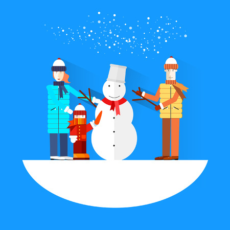white pants: Family.Flat design.Winter holidays.Merry Christmas and Happy New Year cards.Snowman.Greet ing card.