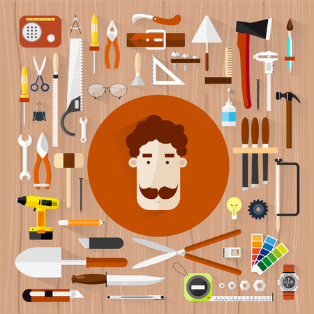 hardware: Carpentry. Construction hardware tools.Tree texture background.Vector color flat illustrations. Illustration