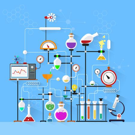 Design piatto. Spazio di lavoro di laboratorio e concept.Chemistry posto di lavoro, la fisica, biology.Modern illustrazione vettoriale. Archivio Fotografico - 33084824