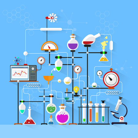 Flat design. Laboratory workspace and workplace concept.Chemistry, physics, biology.Modern vector illustration. Çizim