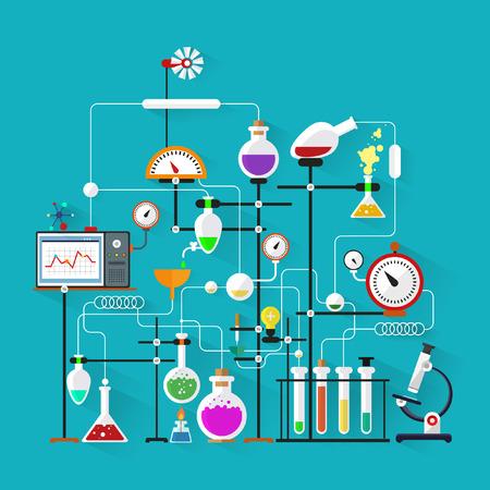 플랫 디자인. 실험실 작업 공간과 작업 환경 concept.Chemistry, 물리학, biology.Modern 벡터 일러스트 레이 션입니다.