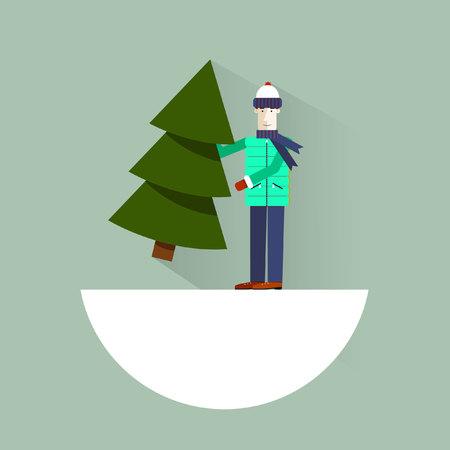 carries: Man choosing fresh cut Christmas Tree.Merry Christmas. Modern flat style. Happy New Year. A man carries a Christmas tree. Christmas Bazaar illustration. Illustration