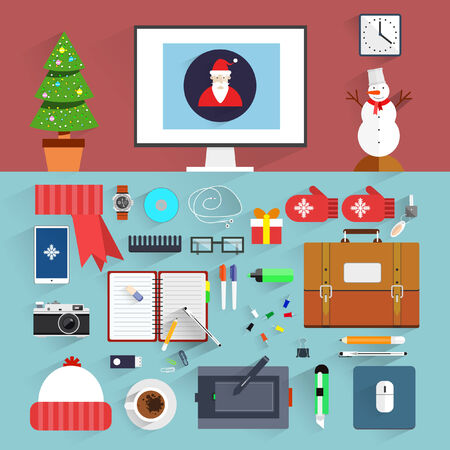 Christmas eve creative workplace concept. Christmas and New Year office decoration. Santa claus workstation flat design. Winter holidays. Business work elements, office things,equipment, objects. Vector