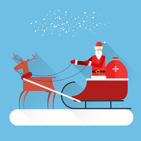 Santa Claus rides in a reindeer sleigh. Christmas and New Year holiday modern flat design. Vector greeting card. Vector