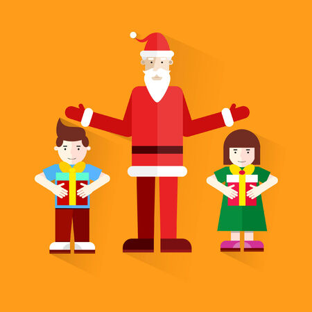 Santa Claus handing out gifts to children. Merry Christmas. Happy new year. Happy children with gifts. Boy and girl next to Santa Claus.