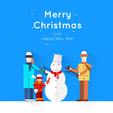 Merry Christmas and Happy New Year greeting card templates. Poster, banner, card, sticker. Flat design. Vector