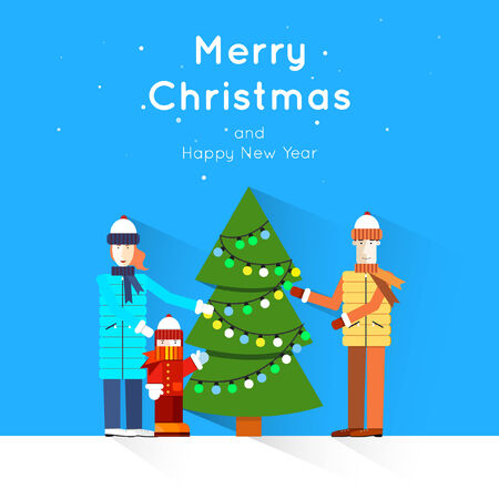 happy new year banner: Merry Christmas and Happy New Year greeting card templates. Poster, banner, card, sticker. Flat design. Illustration