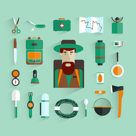 travel burner: Character and Icons eco-tourism. Tourist flat design. Vector illustration.