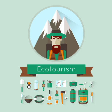 travel burner: Character mountains in the background and icons eco-tourism. Tourist. Flat design. Illustration