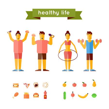 pareja comiendo: La comida rápida y la alimentación saludable. Personas gruesas y delgadas. Lifestyle.