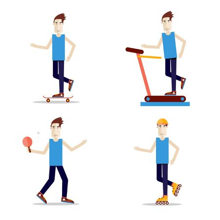 jogging track: Set of people play sports. Health and exercises. Skate, ping pong, jogging track, rollers. Illustration