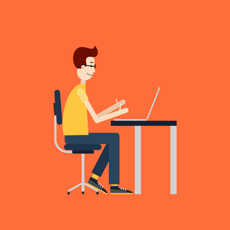 sedentario: Freelancer en el trabajo. Lugar de trabajo con el ordenador de sobremesa. Diseño plano.