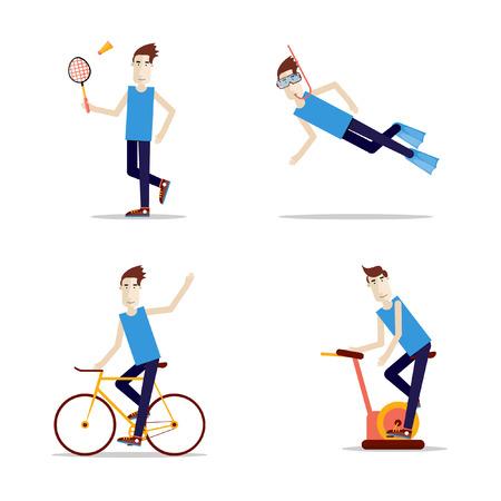 ton: Insanların ayarlayın spor. Sağlık ve alıştırmalar. Badmen ton, dalış, bisiklet, egzersiz bisikleti. Çizim