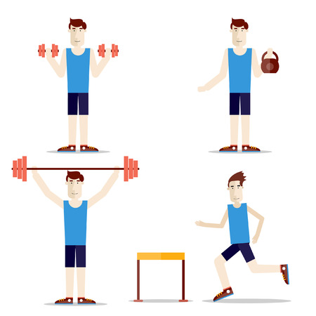 boy gymnast: Set of people do exercises. Health and sport. Weight lifting. Steeplechase. Barbells, dumbbells, weight.
