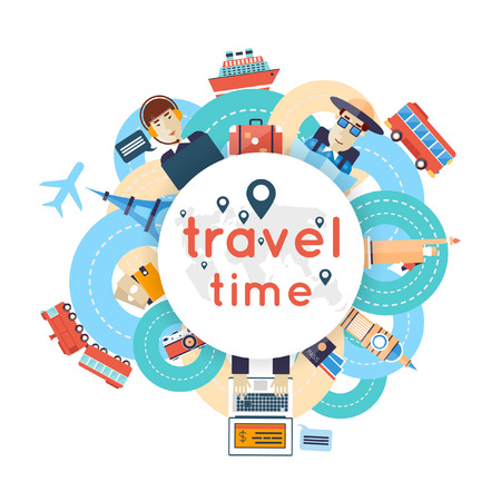 plane vector: World Travel. Planning summer vacations. A man travels the world by train plane ship or bus. Roads. Summer holiday. Tourism and vacation theme. Flat design vector illustration.