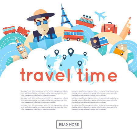 World Travel. Planning summer vacations. A man travels the world by train plane ship or bus. Roads. Summer holiday. Tourism and vacation theme. Flat design vector illustration.