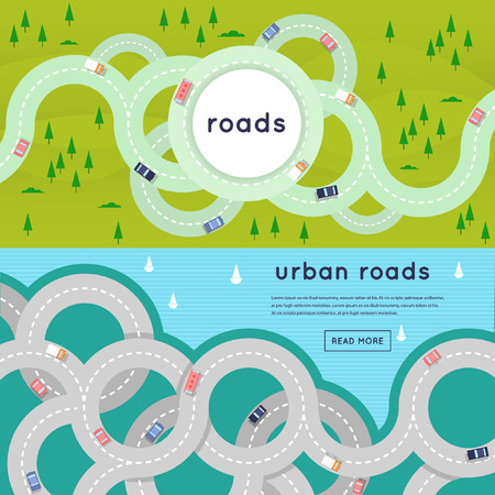 winding road: Busy urban asphalt roads and transport. 2 banners with place for text. Top view. Flat style vector illustration.