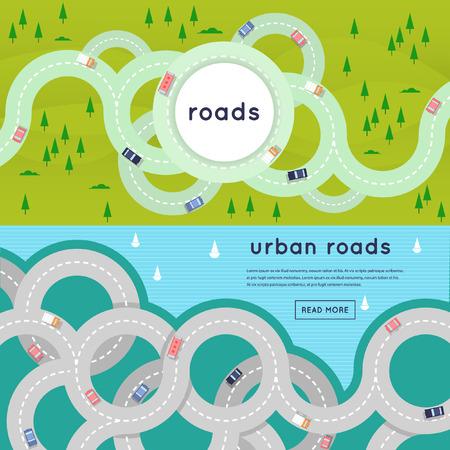 Drukke stedelijke asfaltwegen en transport. 2 banners met plaats voor tekst. Bovenaanzicht. Vlakke stijl vector illustratie.