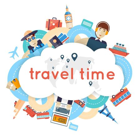 symbol tourism: World Travel. Planning summer vacations. A man travels the world by train plane ship or bus. Roads. Summer holiday. Tourism and vacation theme. Flat design vector illustration.