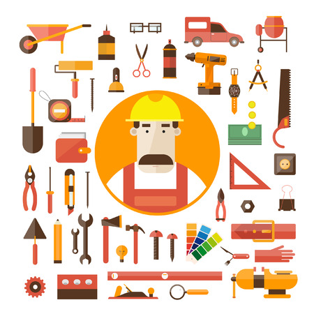 compasses: Builder character vector illustration. Building repair and decoration works. Set of Worker tools icons.
