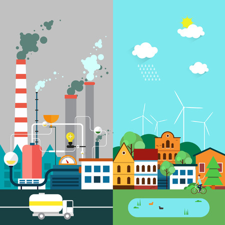 pollution: Vector flat illustration of pollution and ecofriendly landscapes. Ecology environmental protection green energy village. production factory pollution smoke urban. Poster banner.