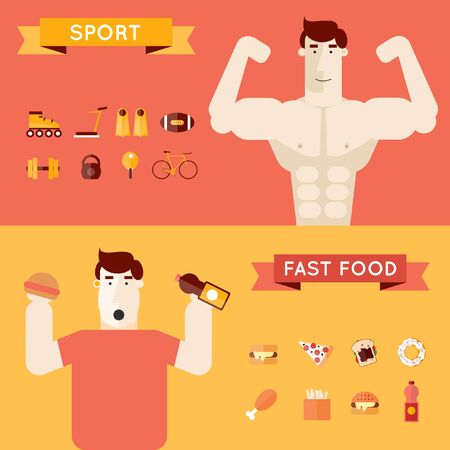 fat person: Fast food and sport. Thick and thin people. Lifestyle. Sports exercise fitness workout. Vector flat illustration. Concept flat icons. Material. Banners.