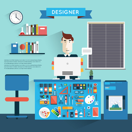 writing chair: Designer workspace with tools and devices in modern flat style. Designer and desktop. Vector illustration concept of creative work. Set of flat icons for web and mobile applications. Office interior.
