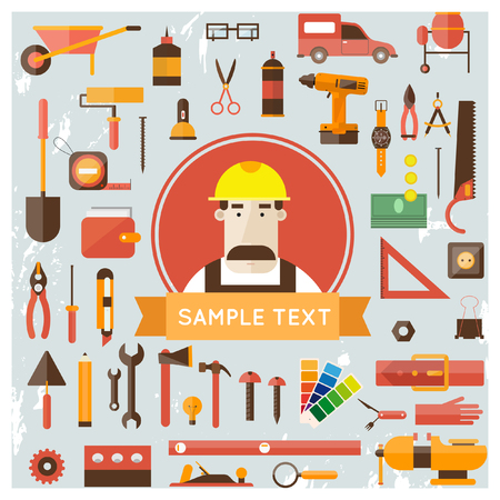 carpenter tools: Builder character vector illustration. Building repair and decoration works. Set of tools icons. Plumber mechanic carpenter.