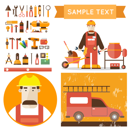 plumber: Builder character with working tools vector illustration. Building repair and decoration works. Set of tools icons. Plumber mechanic carpenter. Flat style.