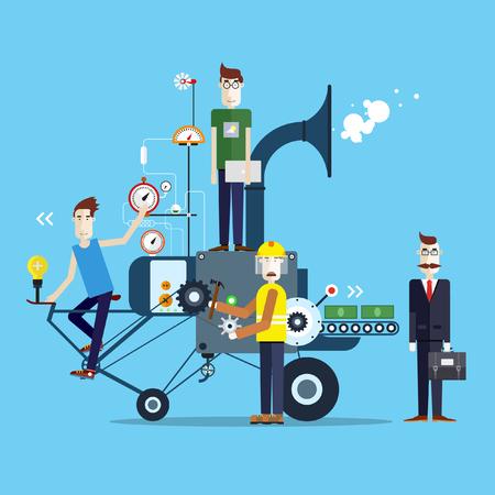 start up: Start up business machine. Startup development. People at work. Teamwork. Modern Flat illustrations. Illustration