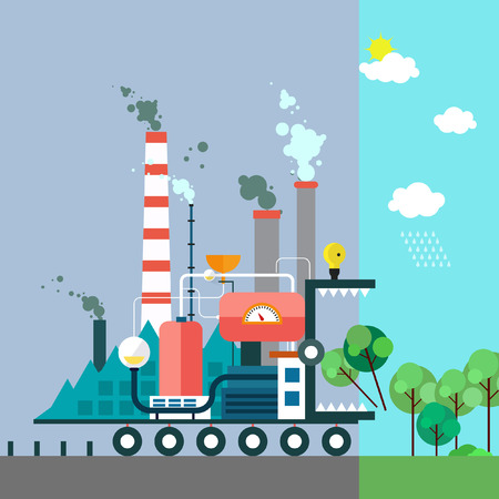 energy production: Factory monster eating nature. Vector flat illustration of pollution and ecofriendly landscapes. Ecology environmental protection green energy production factory pollution urban. Poster. Illustration