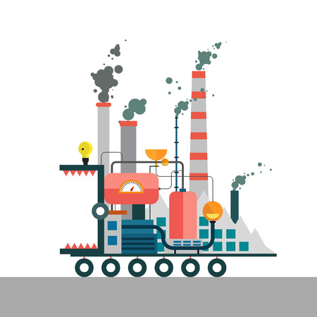 polluted cities: Factory monster eating nature. Vector flat illustration of pollution environmental protection. Ecology environmental protection production factory pollution smoke urban. Poster banner. Illustration
