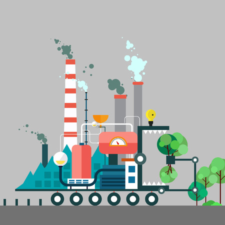 polluted cities: Factory monster eating nature. Vector flat illustration of pollution. Ecology environmental protection green energy production factory pollution smoke urban. Poster banner.